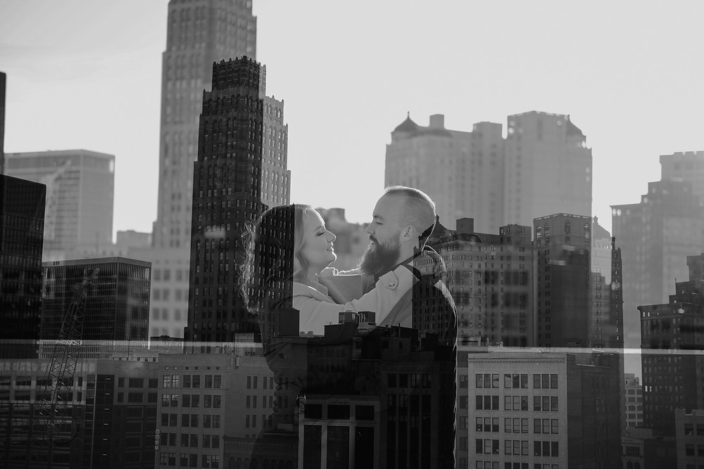 Double exposure of Detroit skyline and couple at Z Lot Detroit Michigan