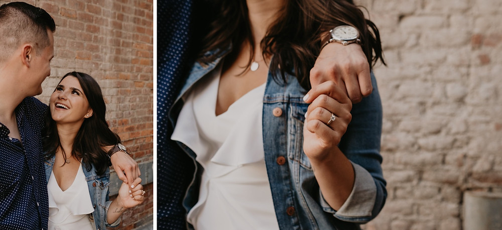 Engagement ring detail photo. Photographed by Nicole Leanne Photography.
