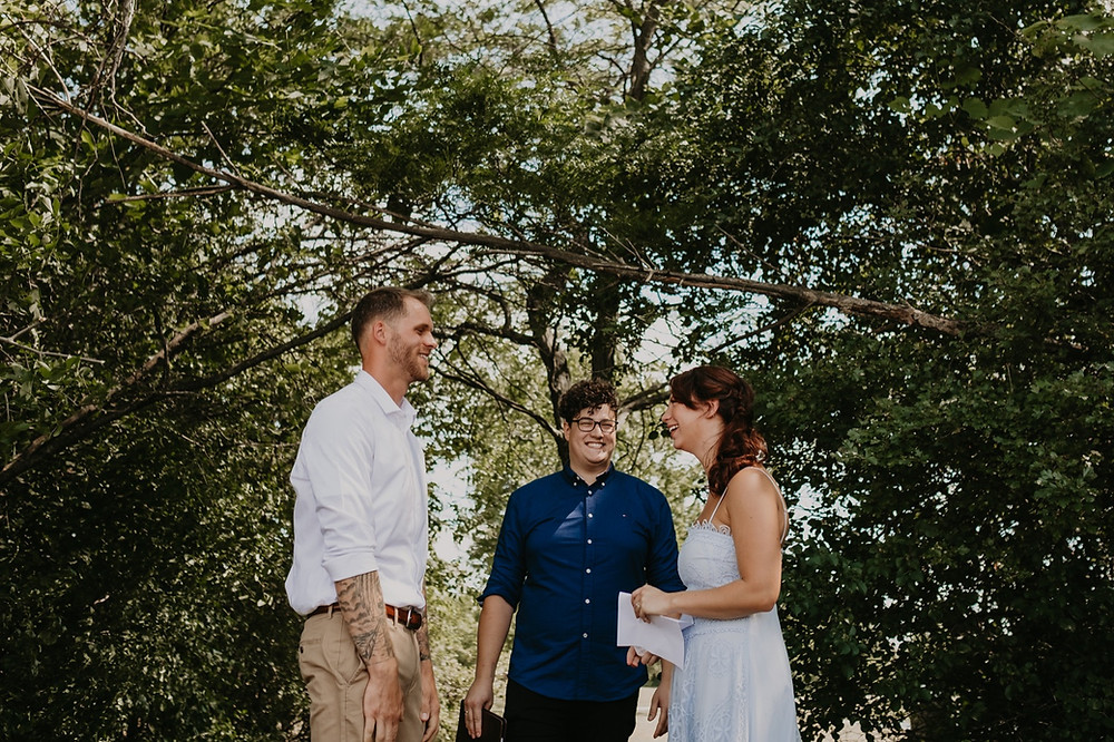 Exchanging vows at Heritage Park wedding ceremony. Photographed by Nicole Leanne Photography.