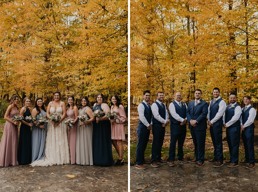 Metro Detroit couple with bridal party outside with fall colors