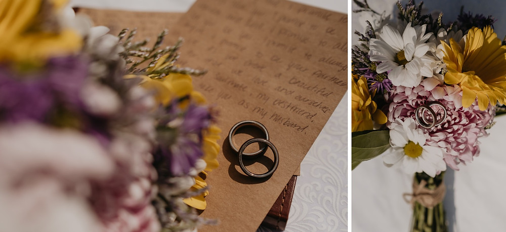 Handwritten vows with homemade wood wedding rings and flower bouquet. Photographed by Nicole Leanne Photography.