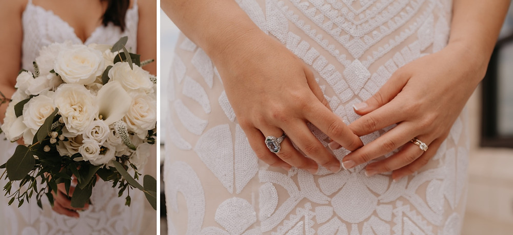 Wedding day flowers and rings. Photographed by Nicole Leanne Photography.