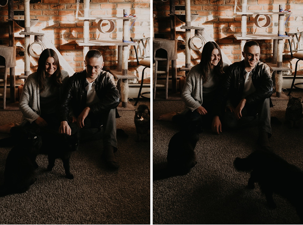 Couple with cat for engagement session at home. Photographed by Nicole Leanne Photography.