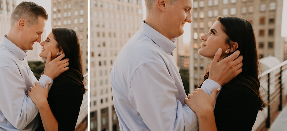 The Monarch Club rooftop engagement photos. Photographed by Nicole Leanne Photography.