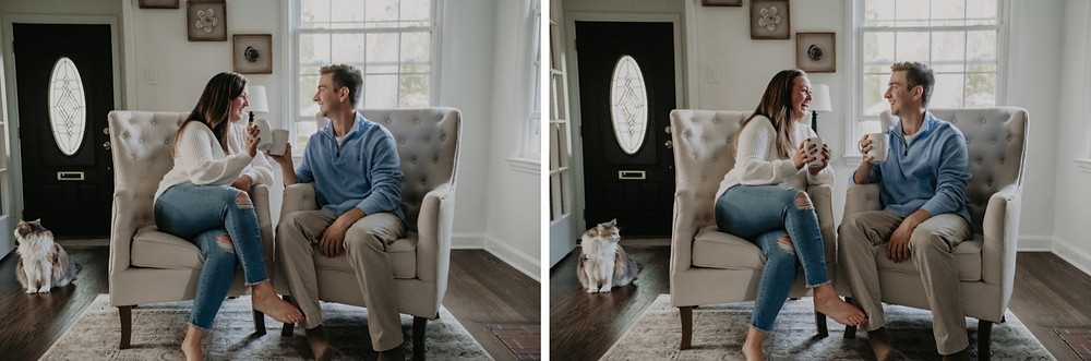 At home engagement photos in Metro Detroit. Photographed by Nicole Leanne Photography.