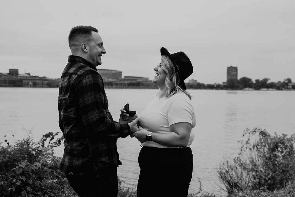 Detroit Riverwalk proposal. Photographed by Nicole Leanne Photography.