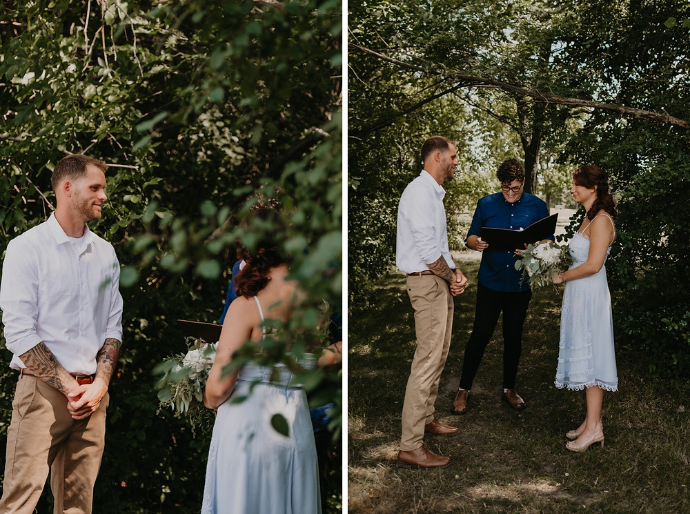 Intimate wedding ceremony at Heritage Park in Metro Detroit. Photographed by Nicole Leanne Photography.