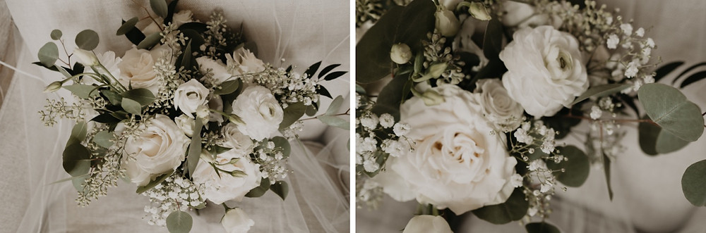 White roses and eucalyptus wedding day florals created by Sweetwater Florist
