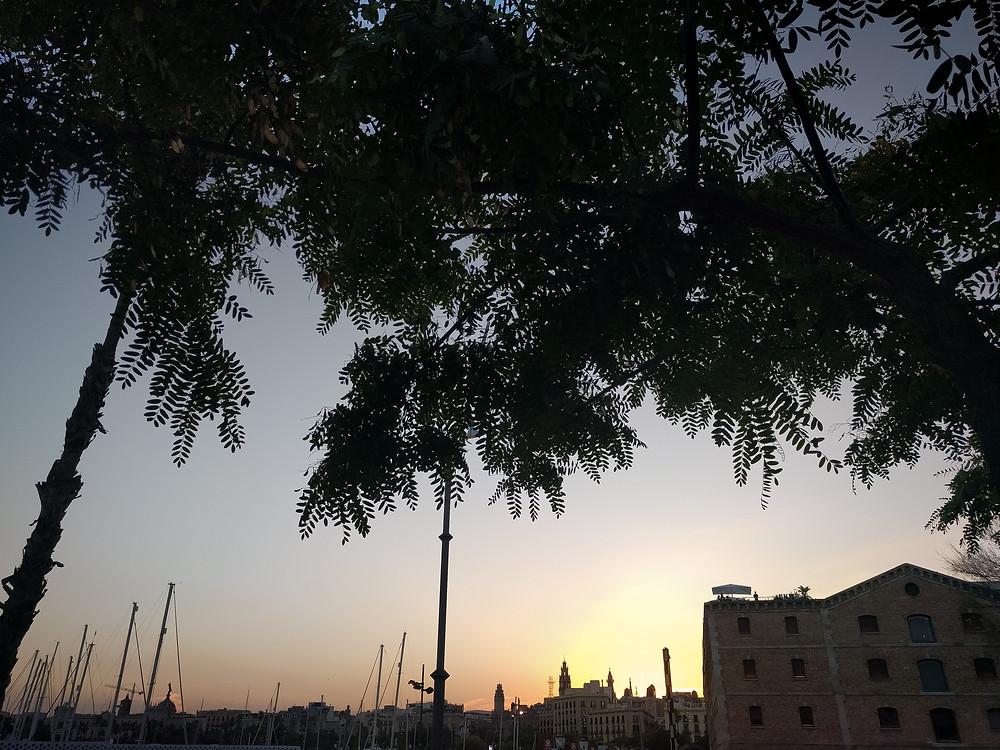 sunset, la barceloneta