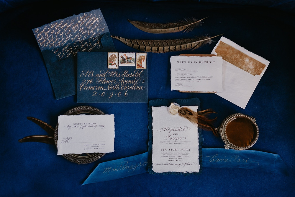 Wedding stationary by Metro Detroit vendor. Photographed by Nicole Leanne Photography.