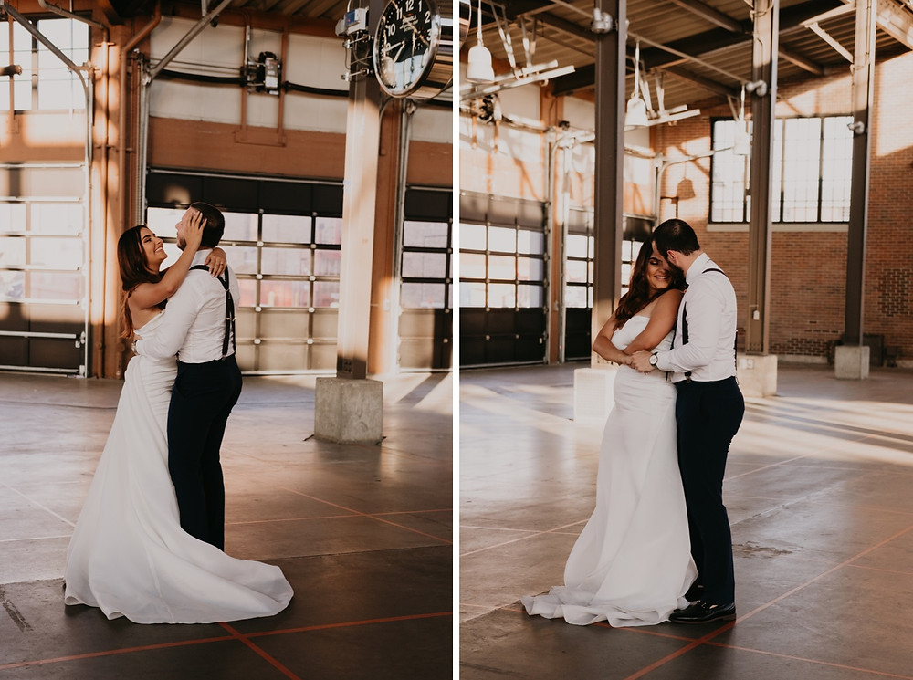 Bride and groom sharing first dance in Eastern Market warehouse. Photographed by Nicole Leanne Photography.