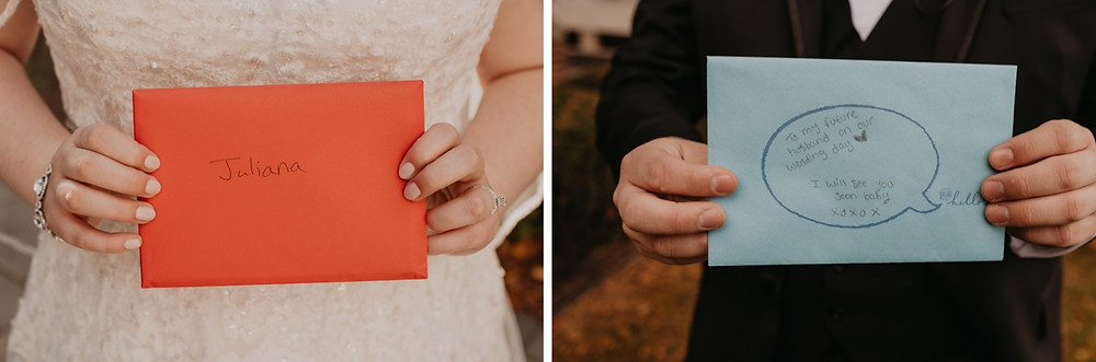 Handwritten cards from bride and groom to each other. Photographed by Nicole Leanne Photography.