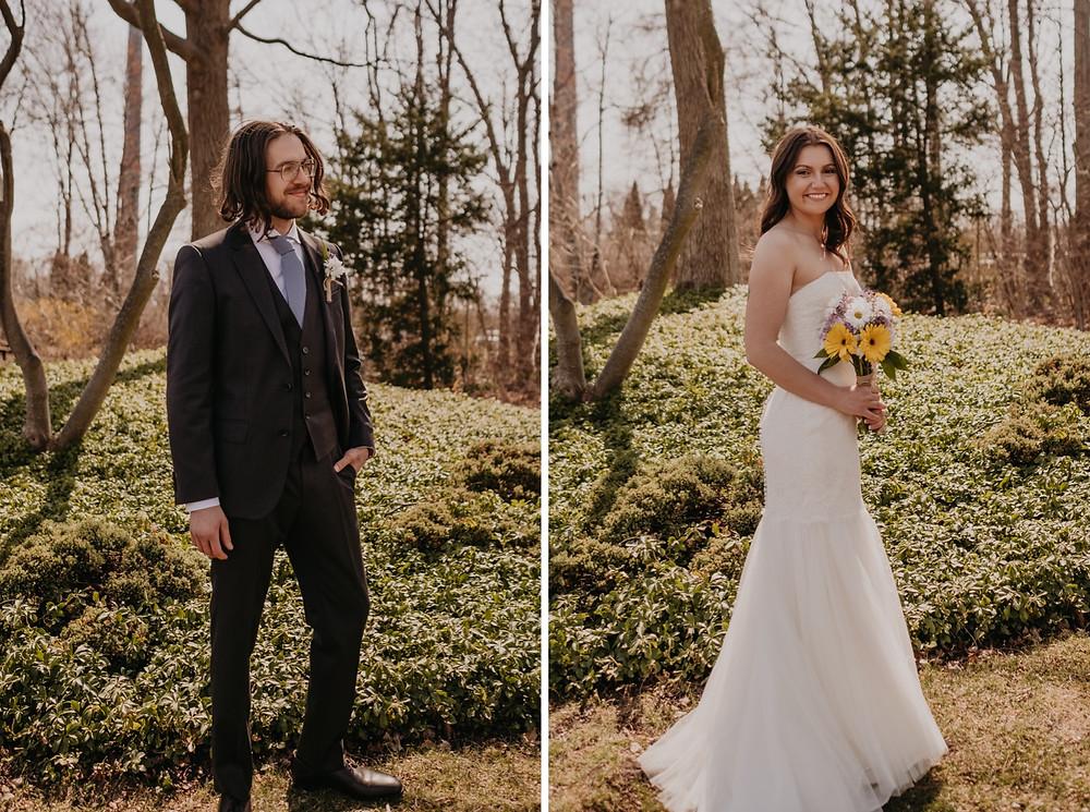Bride and groom wedding portraits at Heritage Park.