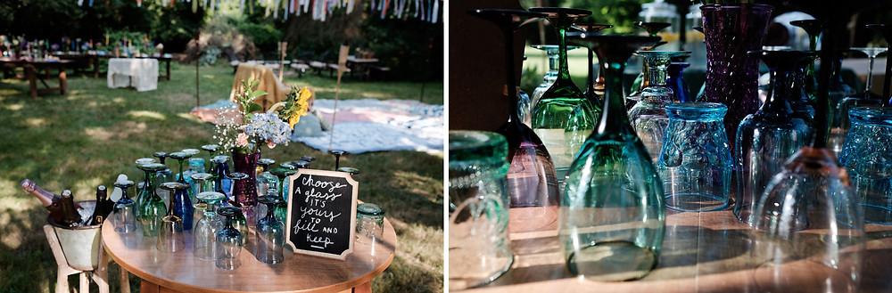 wedding glasses, colorful