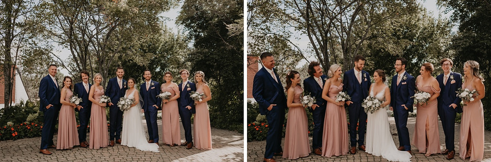 Bride and groom with wedding party. Photographed by Nicole Leanne Photography.