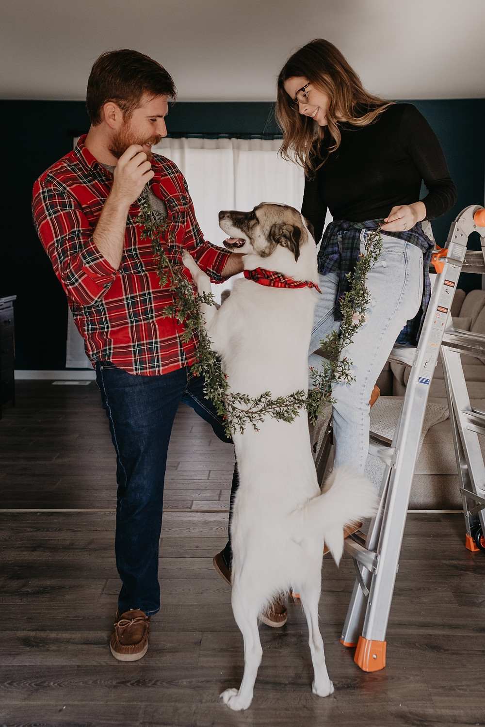 Christmas card featuring couple and great pyrenees dog. Photographed by Nicole Leanne Photography.