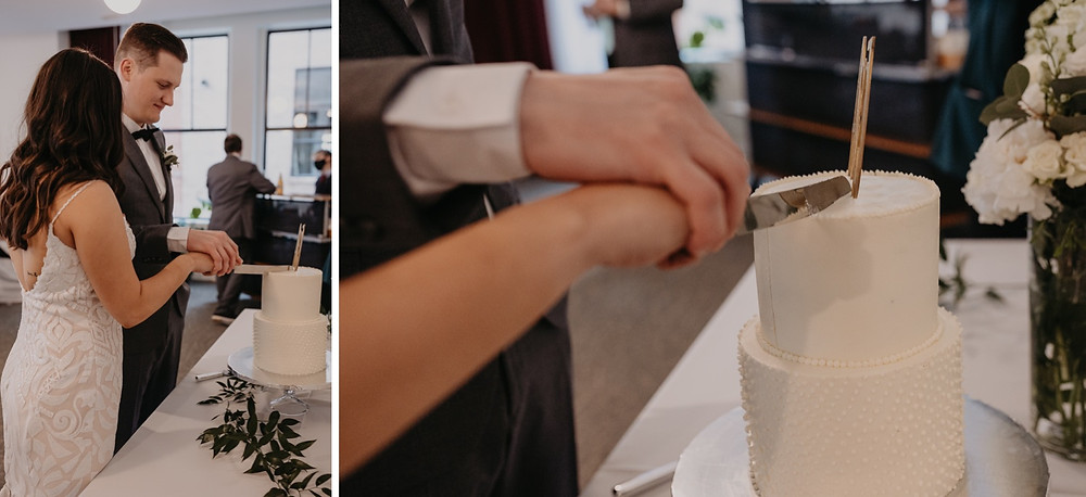 Bride and groom cutting wedding cake together. Photographed by Nicole Leanne Photography.