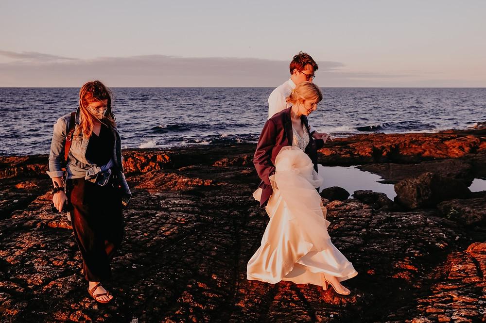Elopement wedding in Mackinac City Michigan at Black Rocks