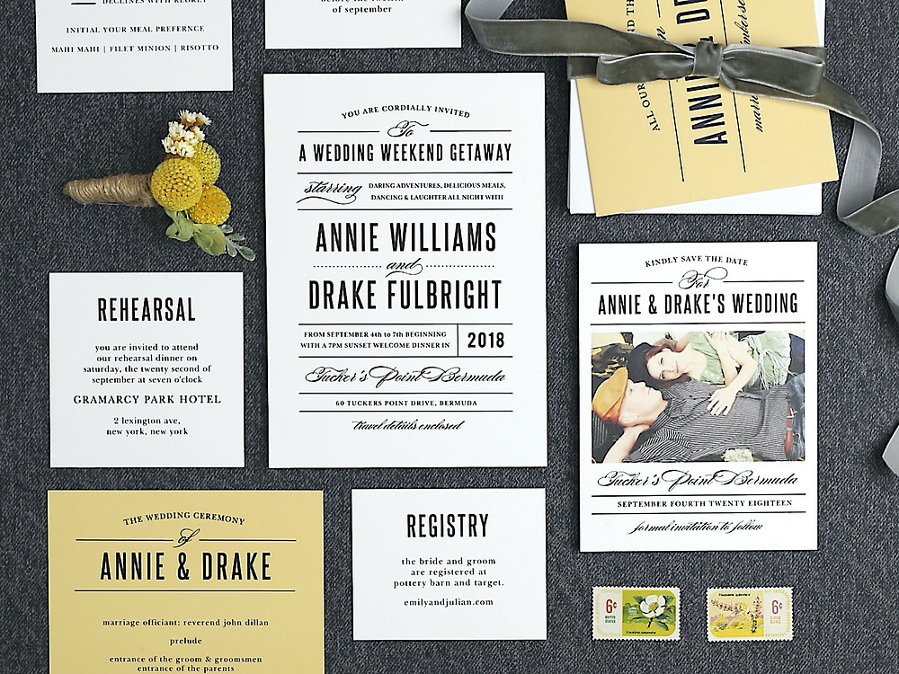 yellow and black wedding invitation suite