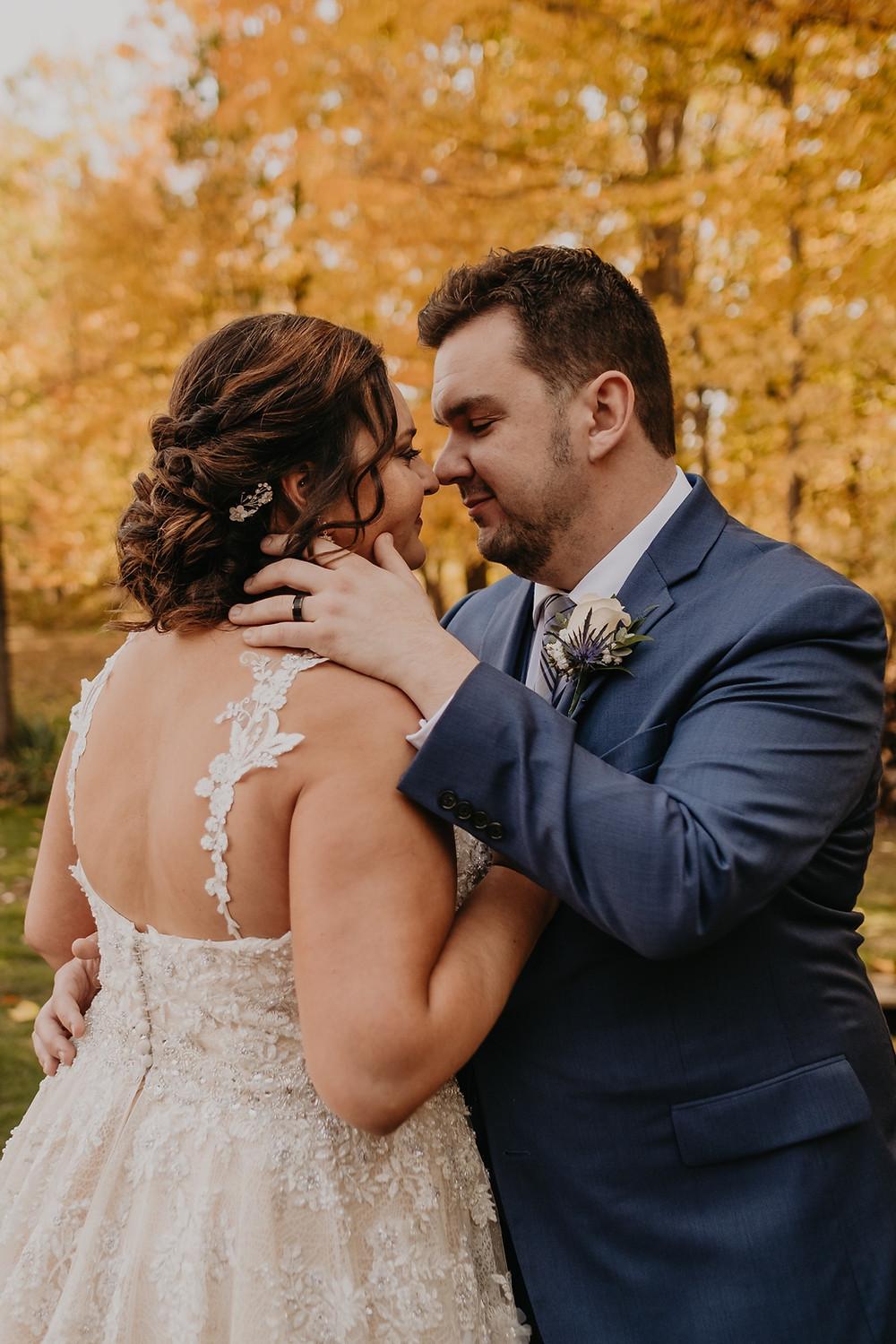 Metro Detroit couple wedding photos with fall colors