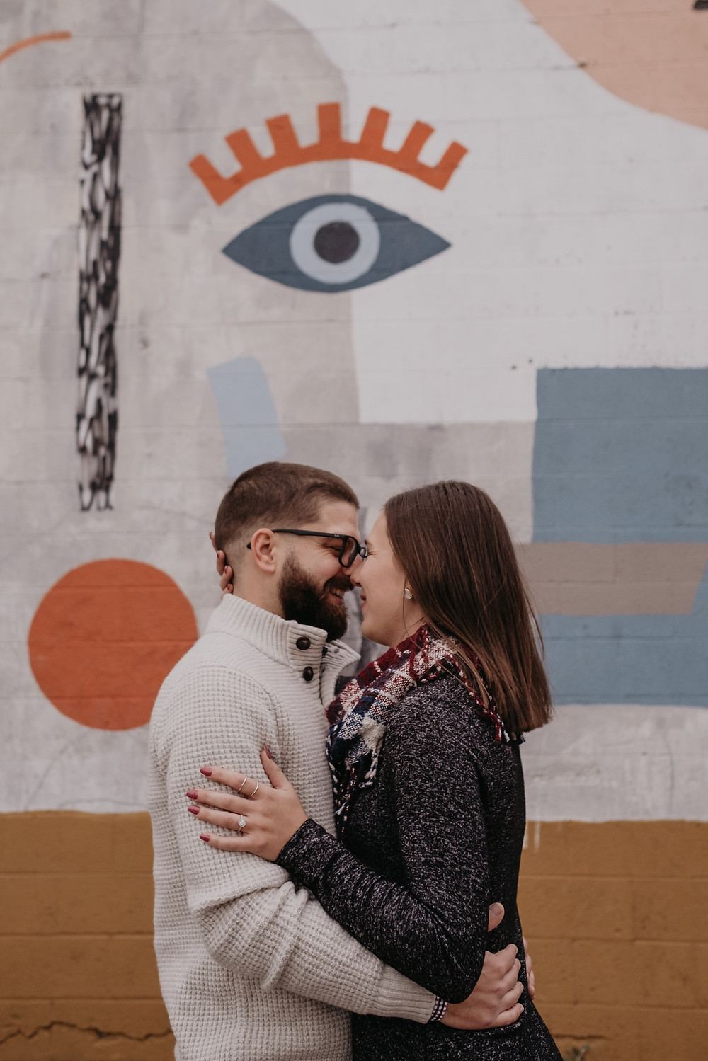 Eastern Market murals in Detroit for engagement session. Photography by Nicole Leanne Photography
