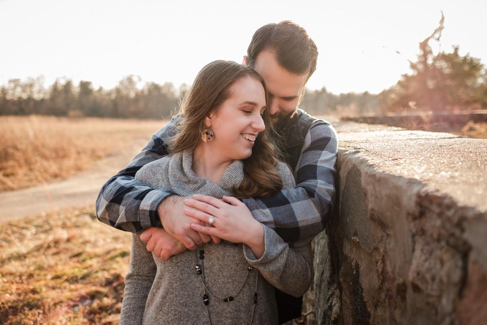 stone wall michigan engagement photograph