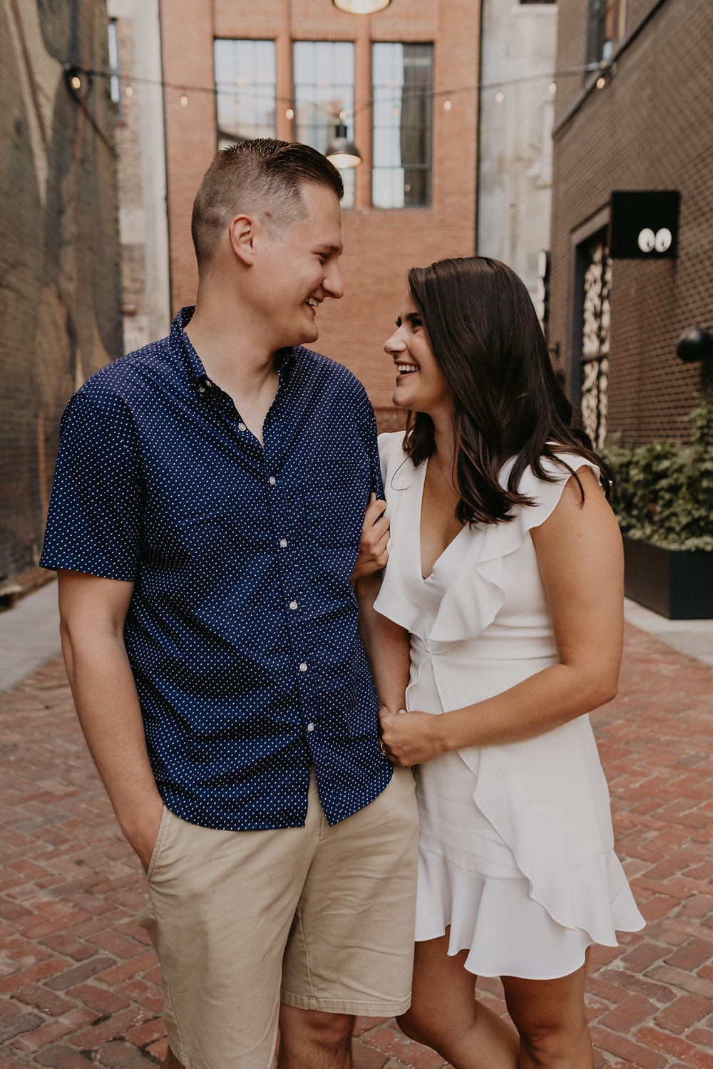 Engagement photo session in Shinola Alley in Detroit. Photographed by Nicole Leanne Photography.