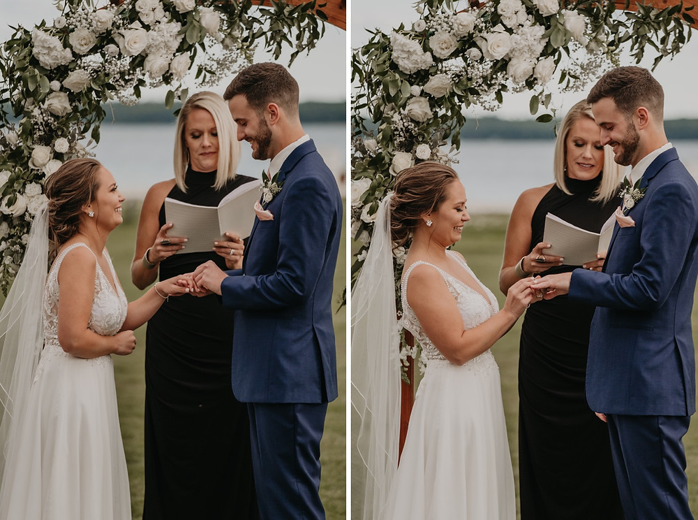 Exchanging of rings at Mission Point Resort ceremony. Photographed by Nicole Leanne Photography.