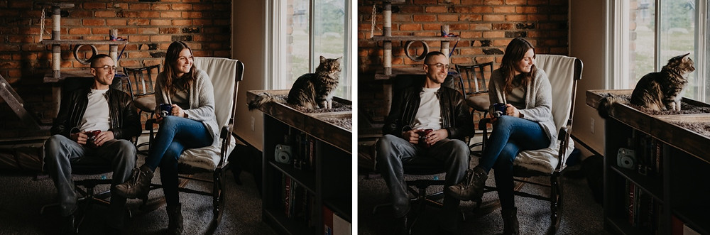 Engagement session with cats. Photographed by Nicole Leanne Photography.
