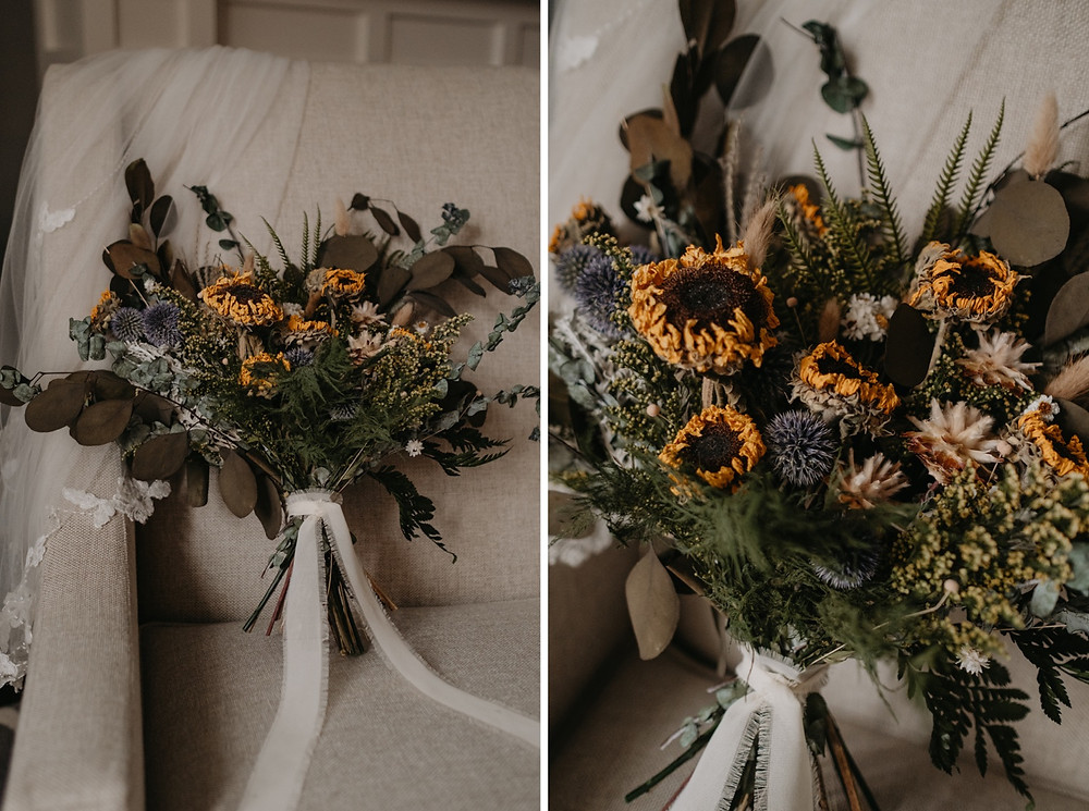Wedding day bouquet of sunflowers and greenery. Photographed by Nicole Leanne Photography.