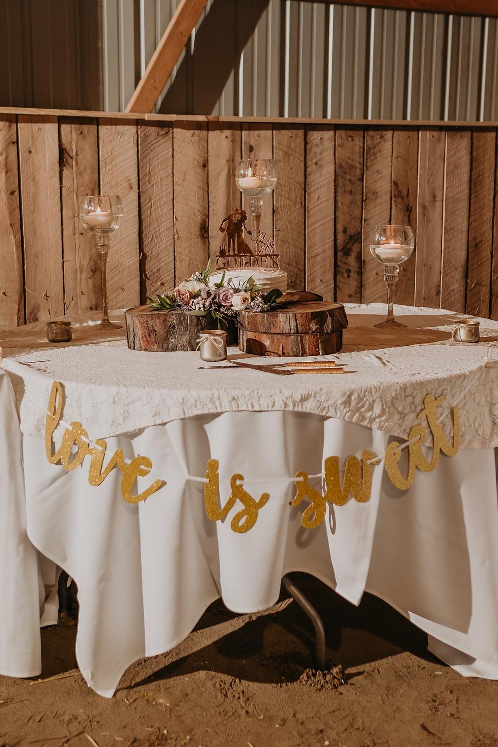 Michigan wedding cake table with barn and rustic decor