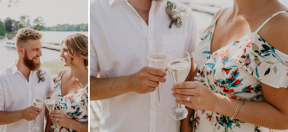 Champagne toast at backyard wedding celebration. Photographed by Nicole Leanne Photography.