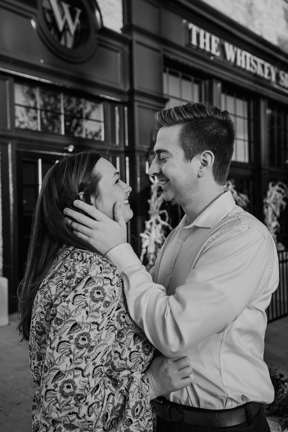 Engagement photos in downtown Grosse Pointe. Photographed by Nicole Leanne Photography.