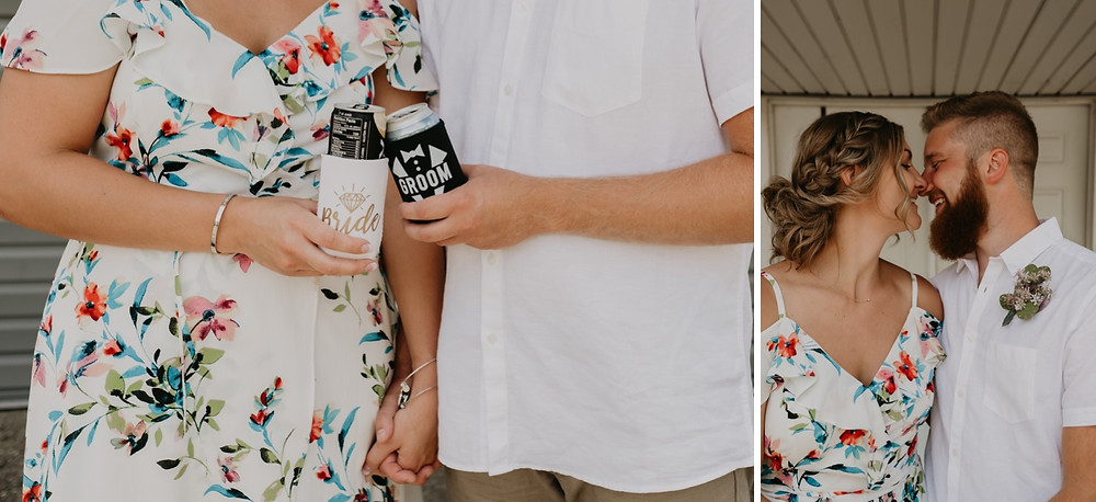 Bride and Groom cheers with beer at backyard wedding. Photographed by Nicole Leanne Photography.