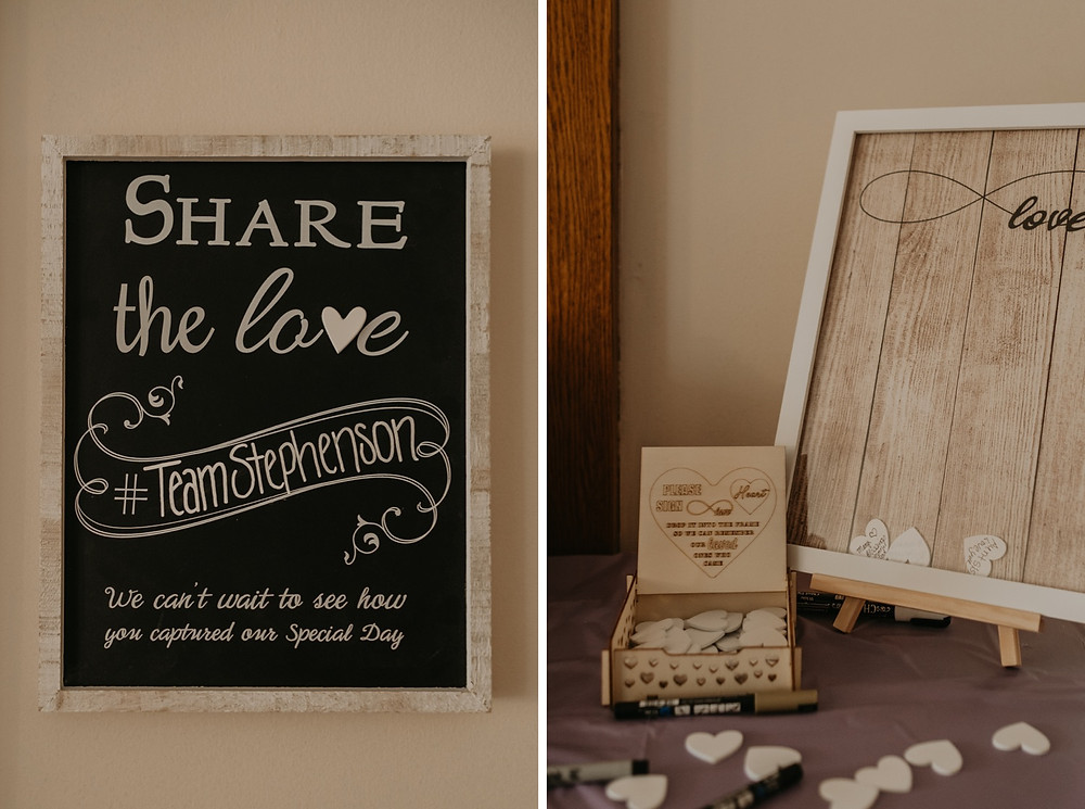 Wedding guestbook with wooden heart pieces in a frame. Photographed by Nicole Leanne Photography.