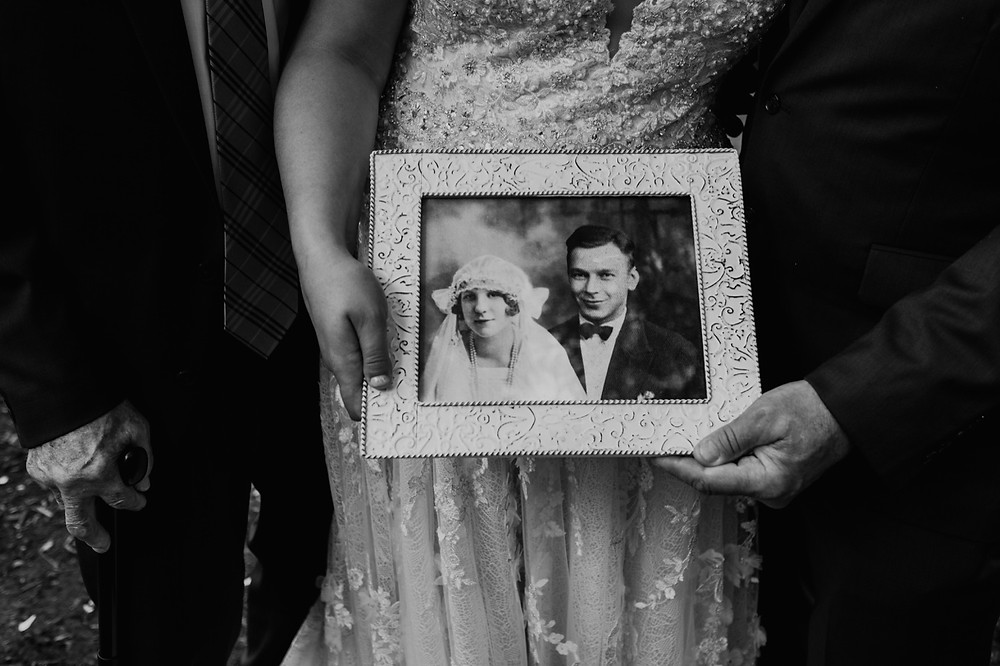 Framed black and white photo of bride's great grandparents. Photographed by Nicole Leanne Photography.