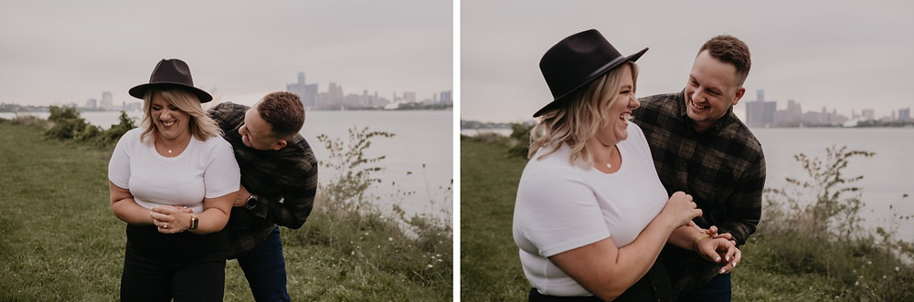 Lifestyle engagement session on Detroit River. Photographed by Nicole Leanne Photography.