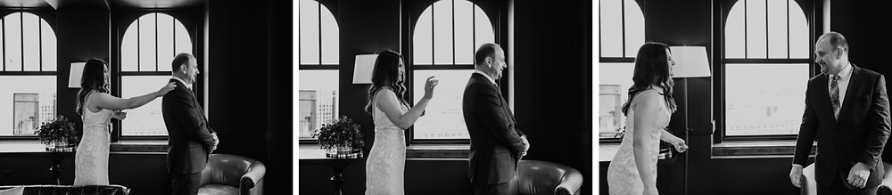 First look with bride and father. Photographed by Nicole Leanne Photography.