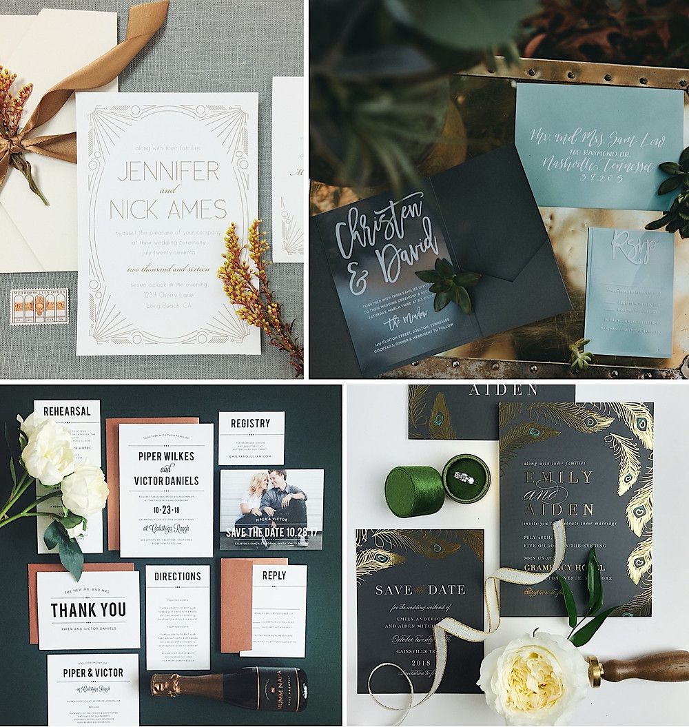 black and neutral wedding invitations