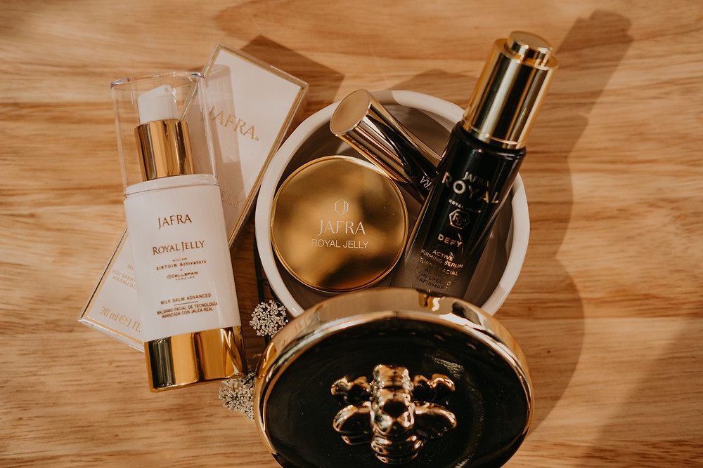 Jafra cosmetics products for Corrina Joan at home. Photographed by Nicole Leanne Photography
