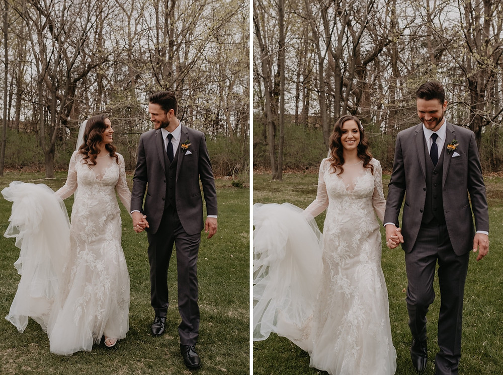 Bride and groom spring wedding photos in Metro Detroit. Photographed by Nicole Leanne Photography.
