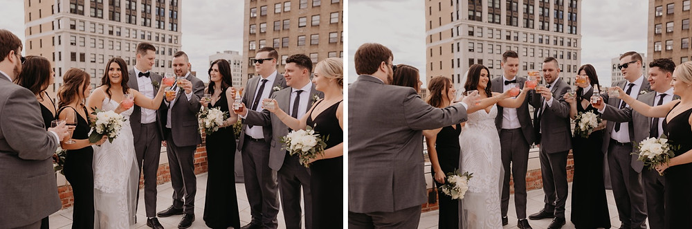 Wedding party cheers after wedding ceremony. Photographed by Nicole Leanne Photography.