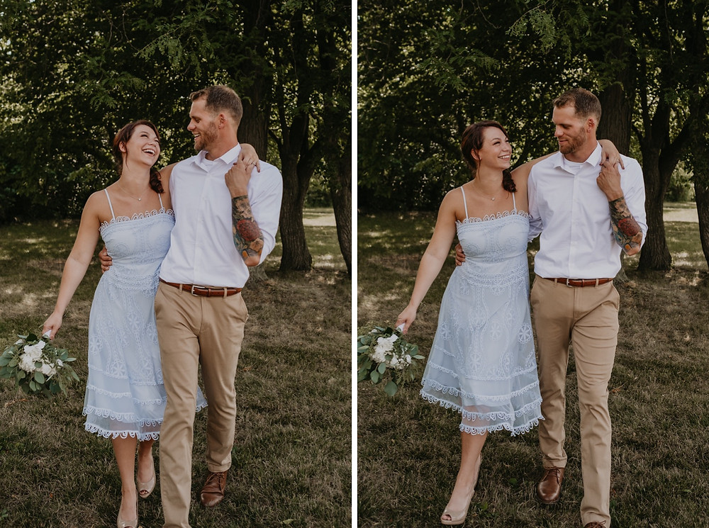 Bride and groom walking in park on wedding day. Photographed by Nicole Leanne Photography.