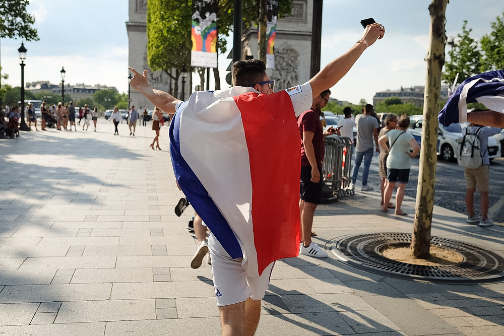 world cup, france wins, fans on the champs elysees