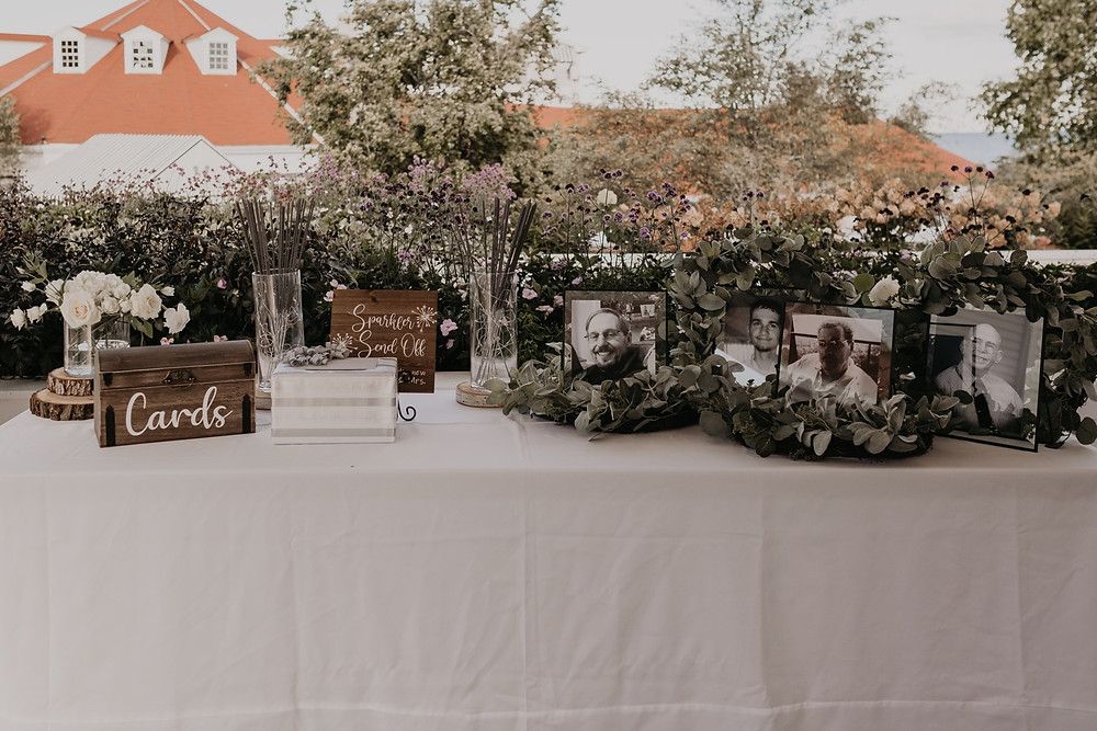 Wedding reception table at Mackinac wedding. Photographed by Nicole Leanne Photography.