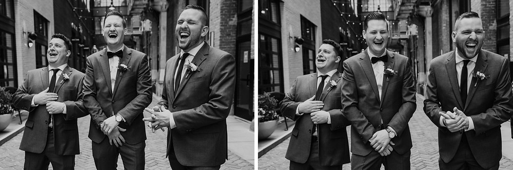 Parker's Alley wedding photos with groomsmen. Photographed by Nicole Leanne Photography.