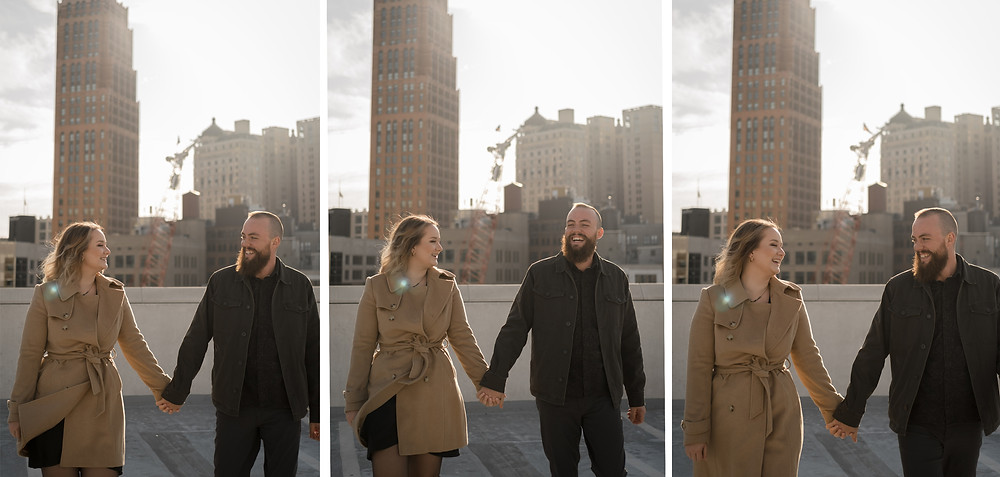 Z Lot in Detroit engagement session with couple and Detroit skyline