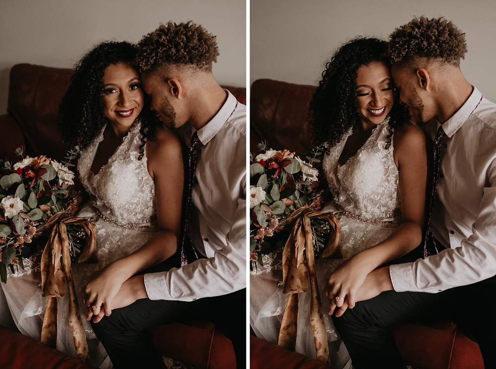 Couple sitting on couch with wedding bouquet. Photographed by Nicole Leanne Photography.