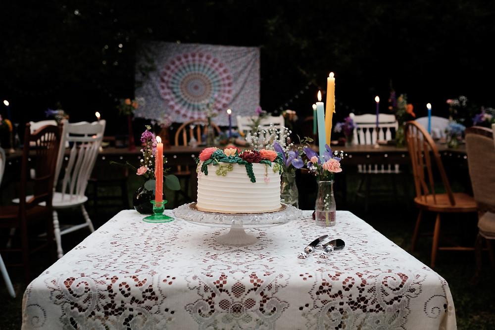 bohemian flower cake