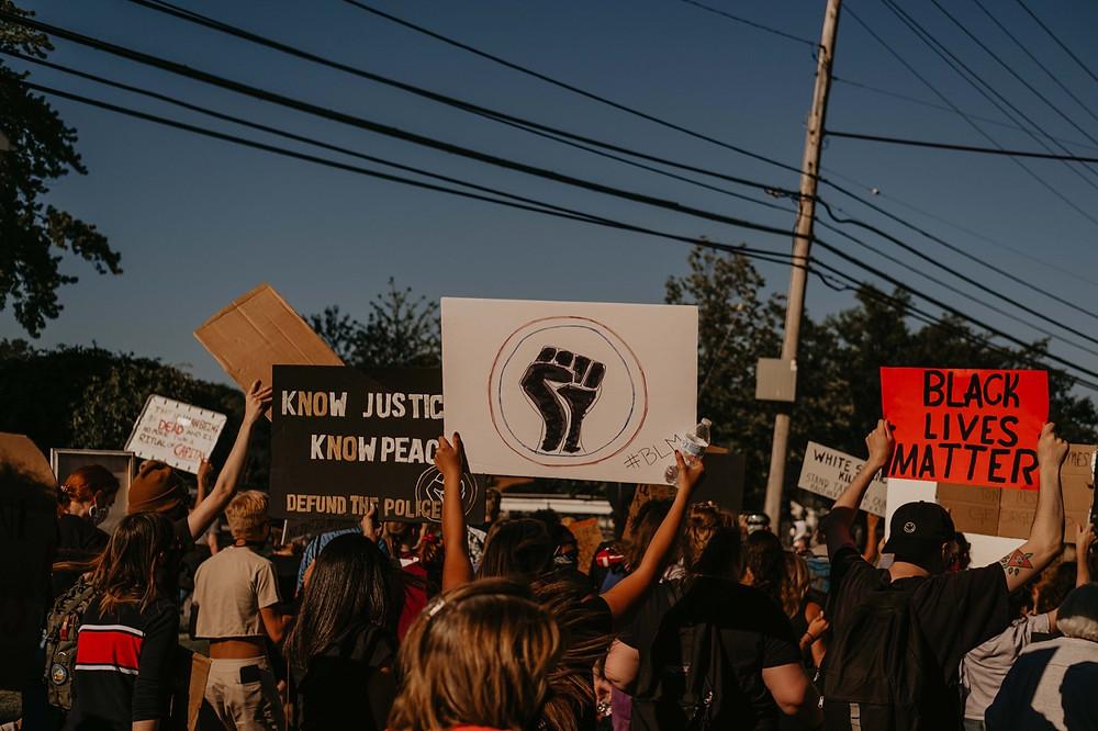 Black Lives Matter protesters in Berkley Michigan protest
